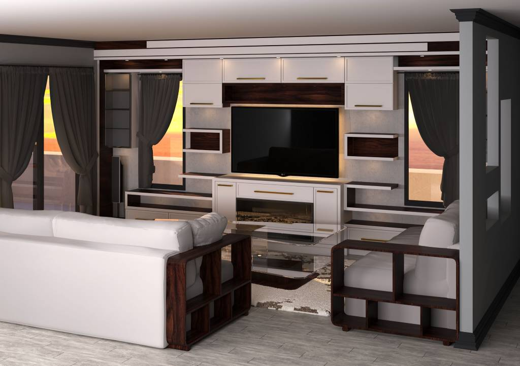 3D render of custom family room with amazing entertainment unit - wall units