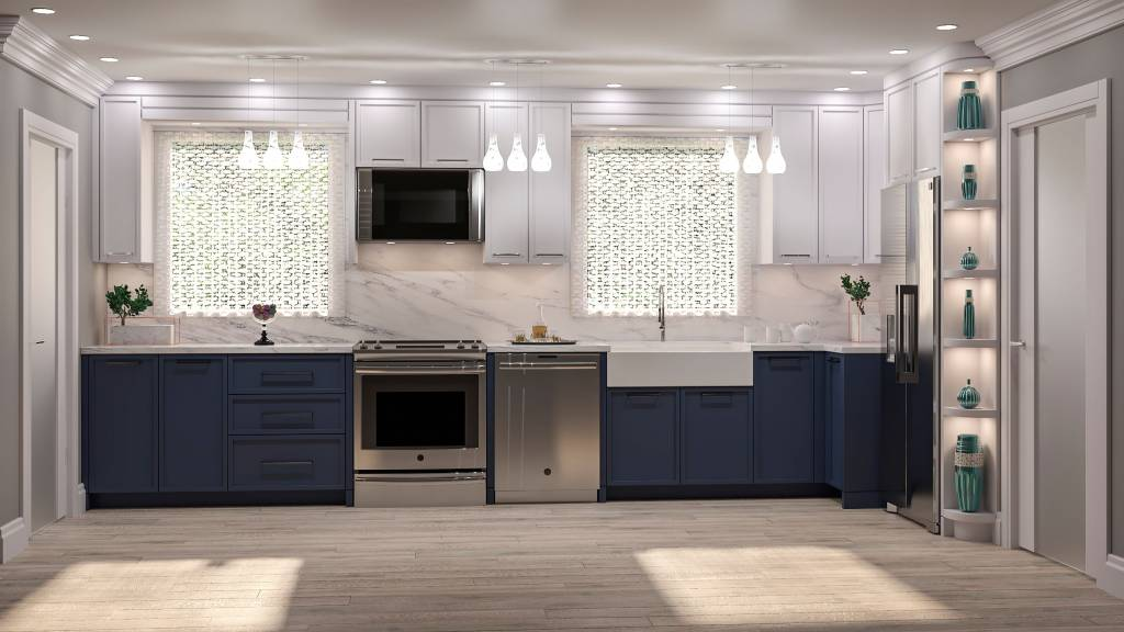 luxury one wall kitchen with two tone blue and white kitchen cabinets - kitchen renovations toronto