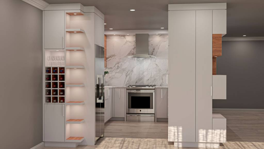 custom kitchen with build in wine shelves -kitchen design by clearview kitchens