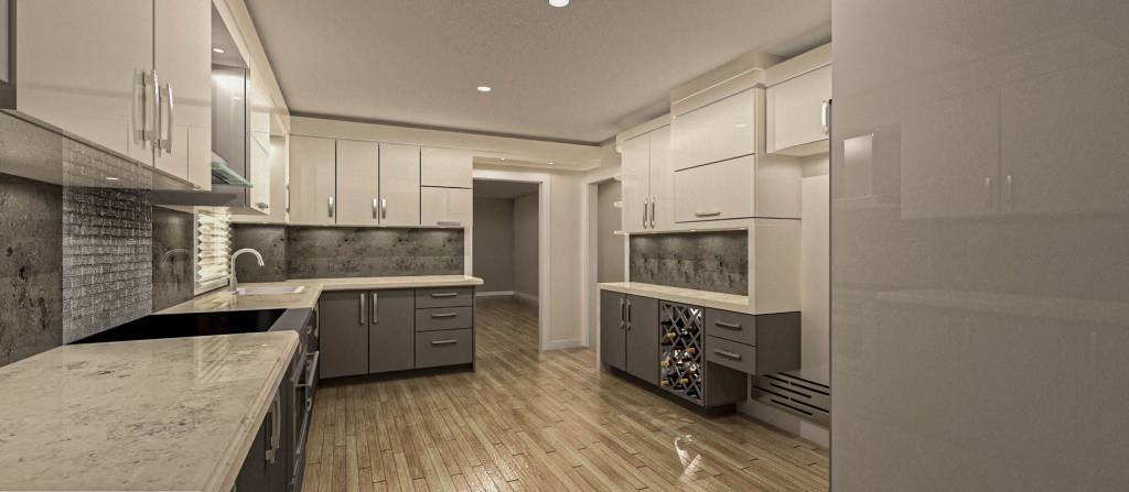 kitchen renovation- amazing galley kitchen with glossy kitchen cabinets