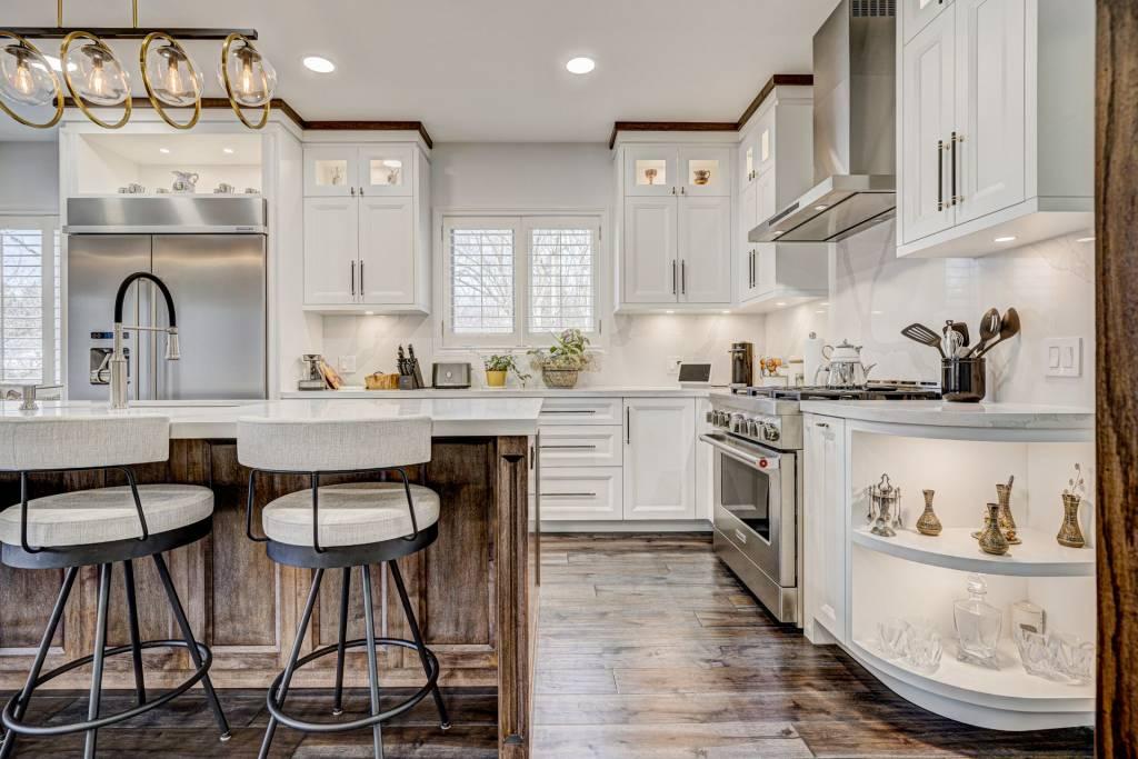 backlit kitchen cabinets in custom kitchen - kitchen refacing