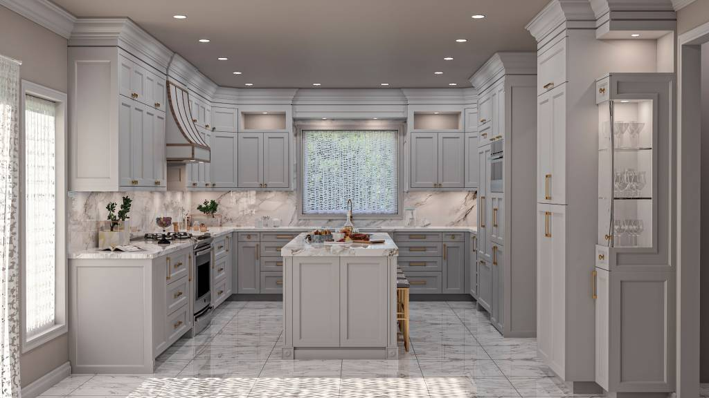 amazing render of custom kitchen with classic design - custom kitchen renovations