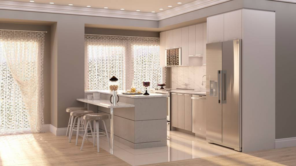 luxury kitchen with crown moudling trim - kitchen renovations toronto
