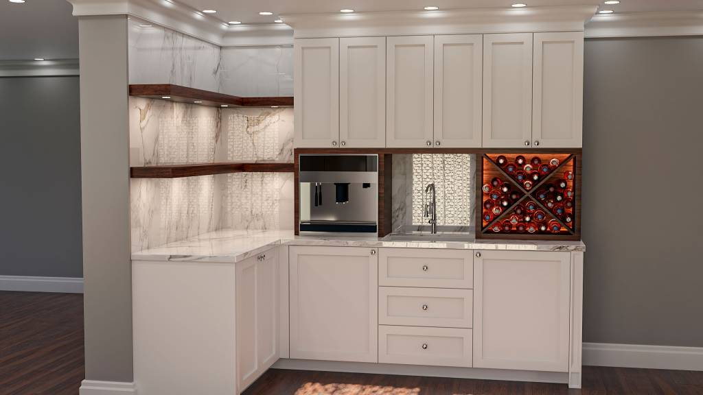 amazing small basement bar with backlit wine shelves - kitchen remodeling toronto