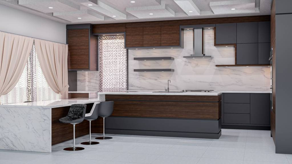 luxury peninsula kitchen with gray and wooden kitchen cabinets - custom kitchen companies