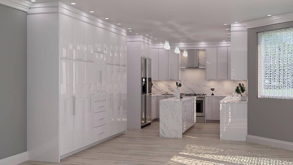 3D render of custom kitchen with white glossy kitchen cabinets - remodel my kitchen