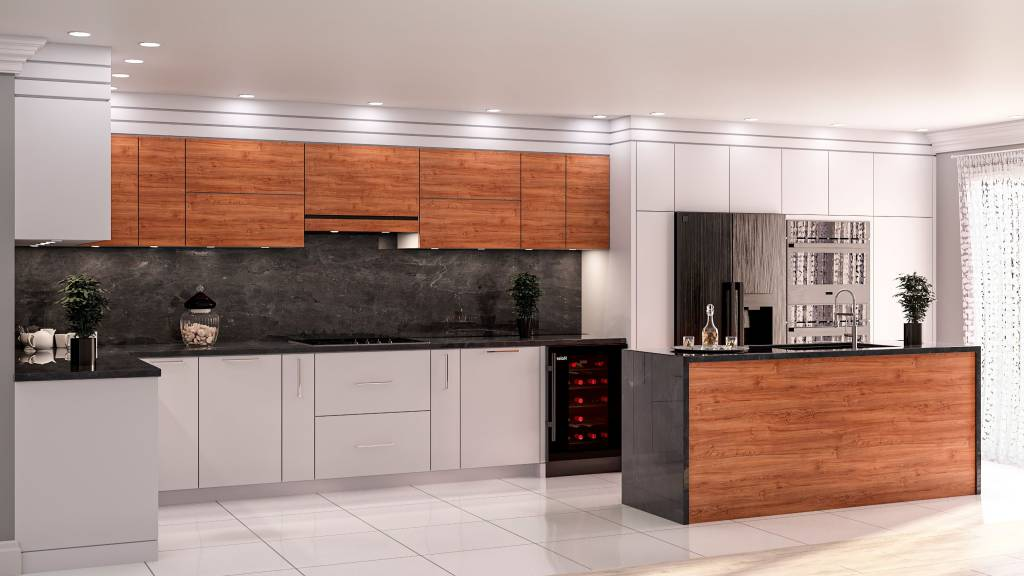luxury kitchen with black splash wall and island - kitchen design by clearview kitchens