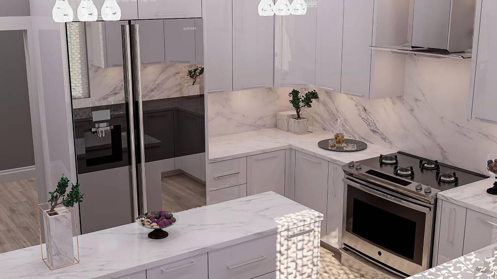 U-shape kitchen with marble countertop on kitchen island - custom kitchen design North York