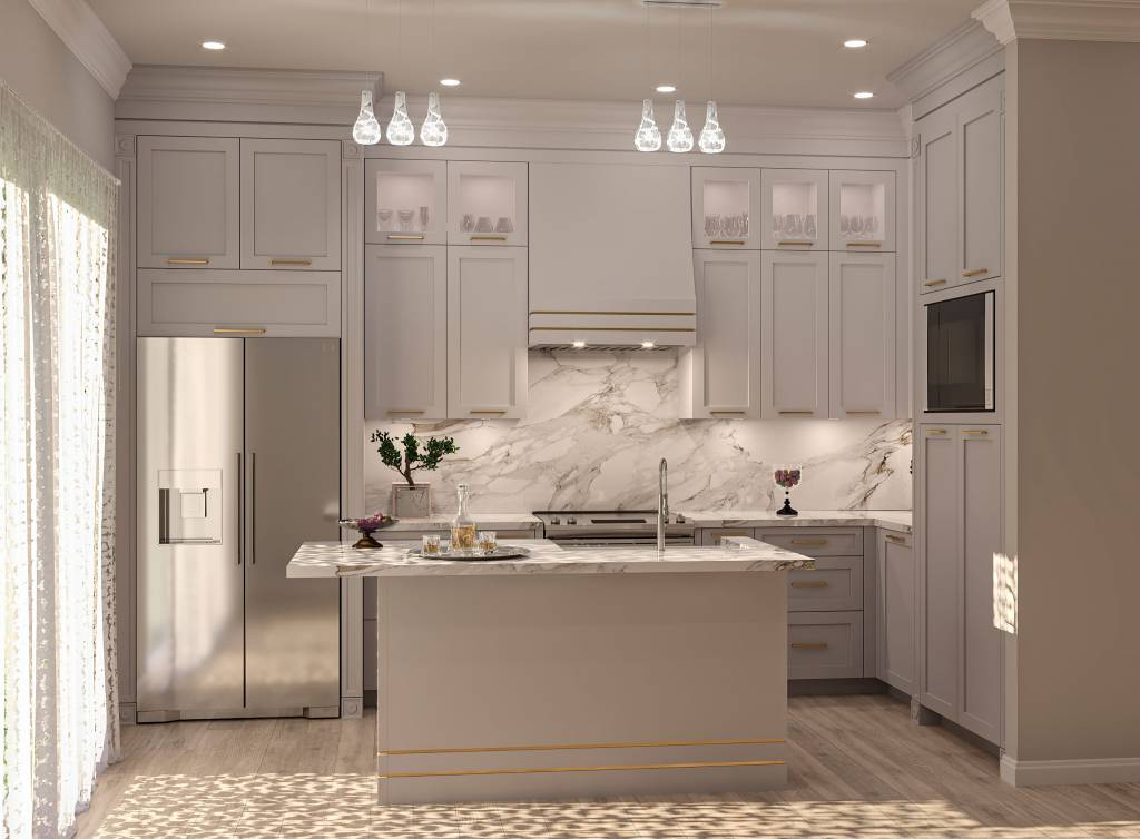 L-Shape custom kitchen with small island and sink - kitchen companies