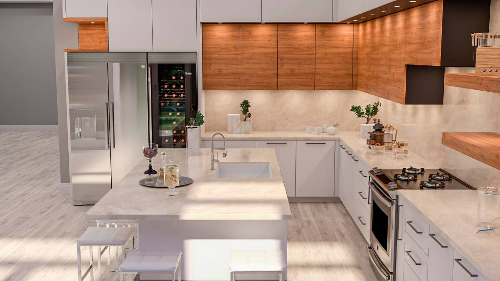 modern kitchen with backlit kitchen cabinets and marble countertop - kitchen renovations toronto