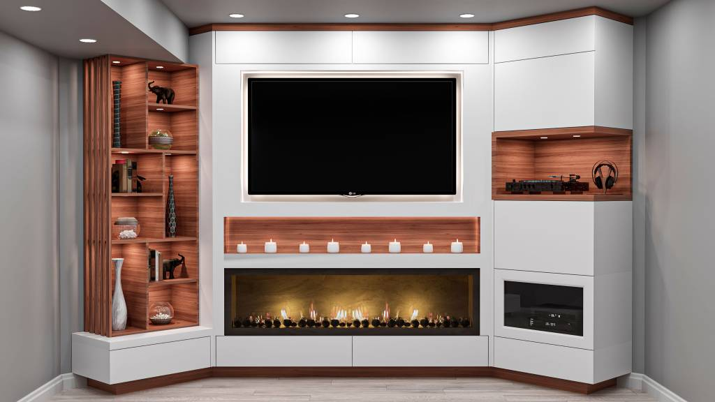 basement family room with custom entertainment unit - wall units