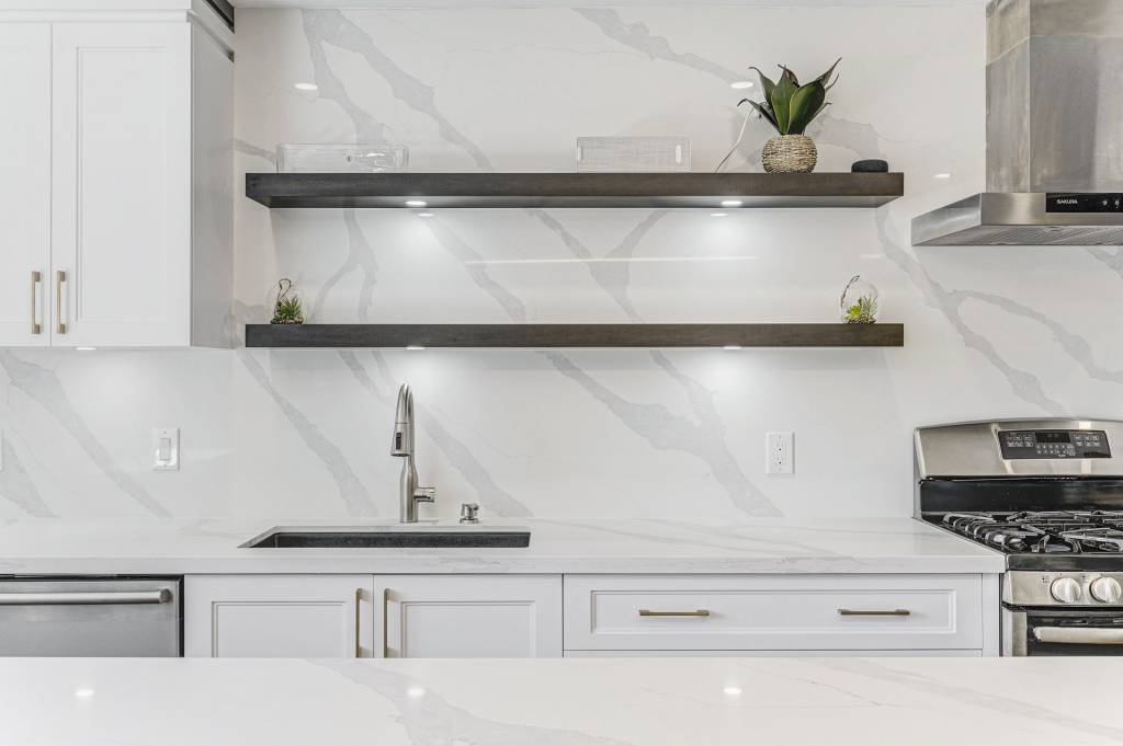 Marble Splash Wall and Backlit Shelves in Amazing Kitchen Design North York