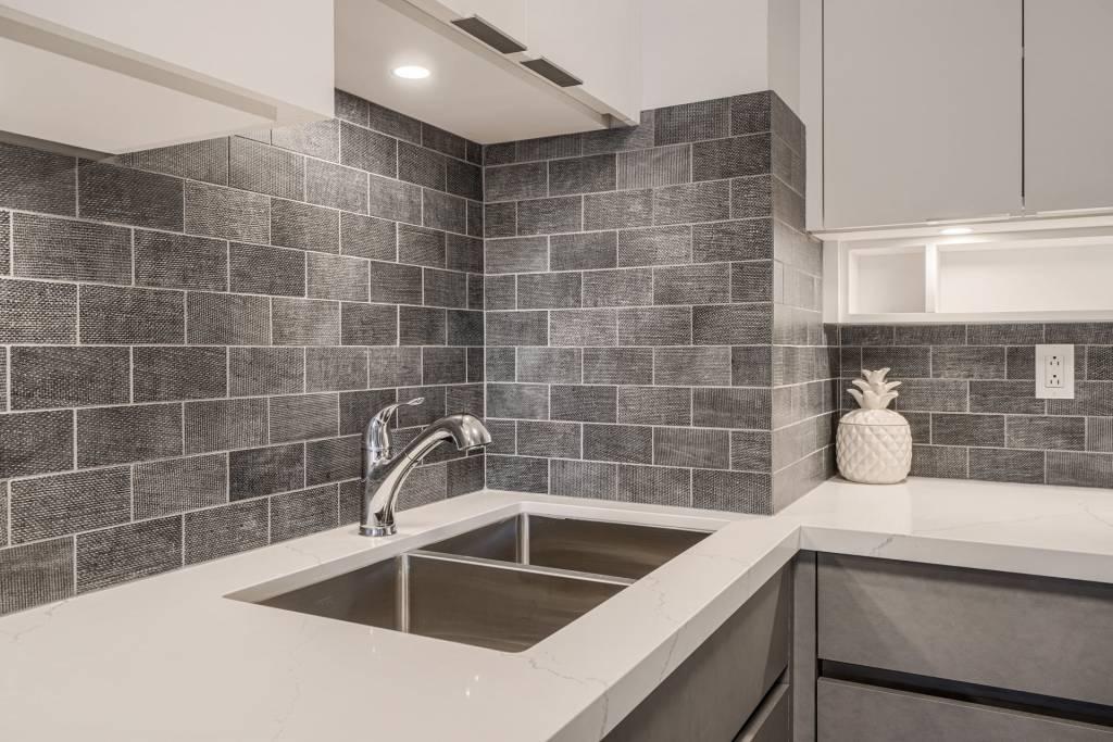 Modern Kitchen Design with Brick Splash Wall Richmond Hill